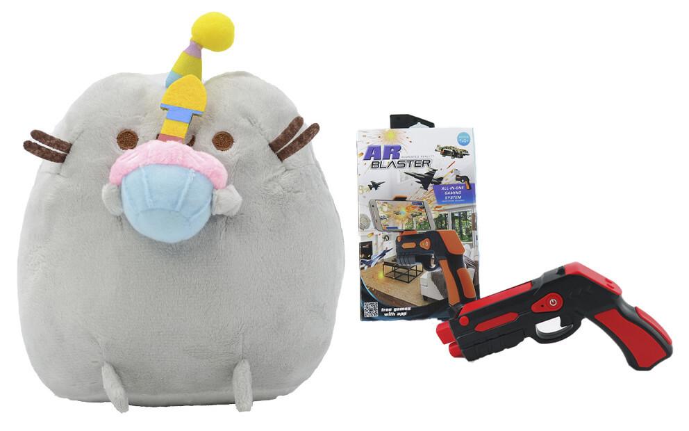 Комплект Мягкая игрушка кот с кексом Pusheen cat и Пистолет дополненной реальности Красный (vol-694)