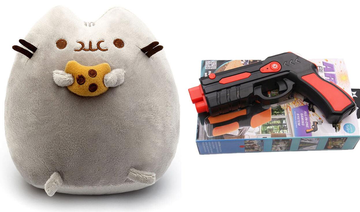 Комплект Мягкая игрушка кот с печеньем Pusheen cat и Пистолет дополненной реальности Красный (vol-695)