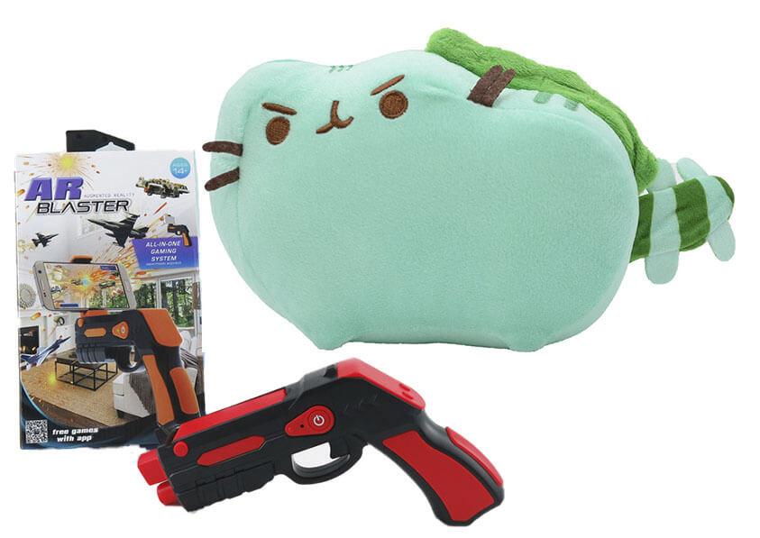 Комплект Мягкая игрушка кот дракон Pusheen cat и Пистолет дополненной реальности Красный (vol-700)