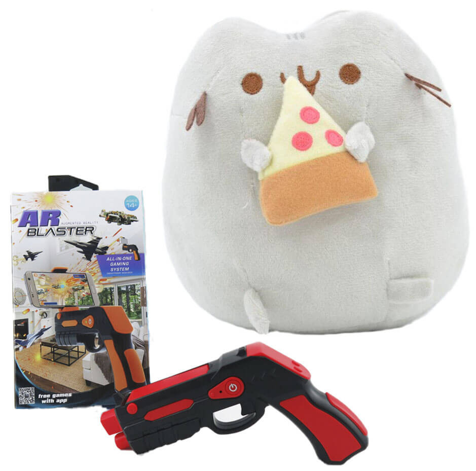 Комплект Мягкая игрушка кот с кусочком пиццы Pusheen cat и Пистолет дополненной реальности Красный (vol-703)