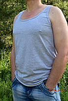 Майка мужская серая хлопок 100% кулир меланж, фото 2