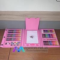 Детский набор для рисования 208 предметов в чемоданчике с мольбертом творчества юного художника детей девочке