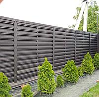 Штакетник в стиле жалюзи ранчо забор металлический коричневый двухсторонний евроштакетник
