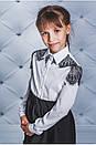 """Красива біла блуза для дівчинки з довгим рукавом """"Пейслі"""", фото 2"""