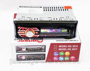 Автомагнитола Pioneer 6317 1DIN MP3  с RGB подсветкой (поддержка USB/AUX/SD card)