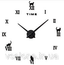 Декоративні настінні годинники Кіт Сat (D=1м)