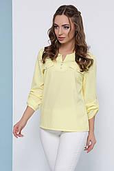 Блузка женская желтая летняя с рукавом. Ткань - супер софт. Повседневная, офисная легкая блуза