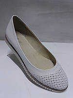 Туфли-балетки женские летние кожаные белые в дырочку 36 37 39 40 41