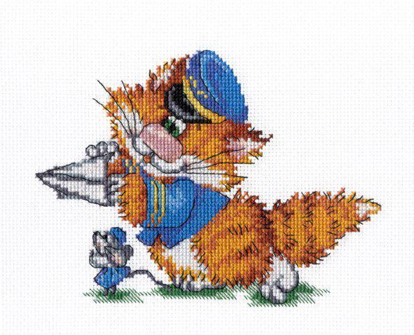 Набор для вышивки крестом М.П.Студия НВ-353 «Рыжий кот. Пилот»