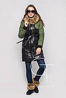 Женская зимняя удлиненная куртка LS-8567 Черный-оливка-46,48