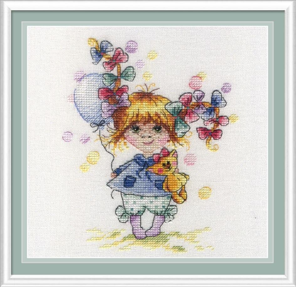 Набор для вышивки крестом М.П.Студия НВ-601 «В разноцветных бантах»