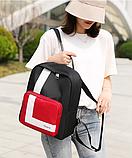 Рюкзак жіночий чорний з нейлонової тканини, фото 3