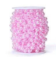 Бусины Жемчуг на леске нежно-розовые 8 и 3 мм 1.3 м/уп