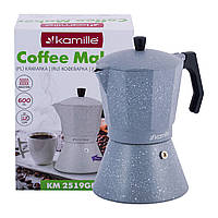 Кофеварка гейзерная Kamille Серый Мрамор 600мл из алюминия с широким индукционным дном KM-2519GR, фото 1