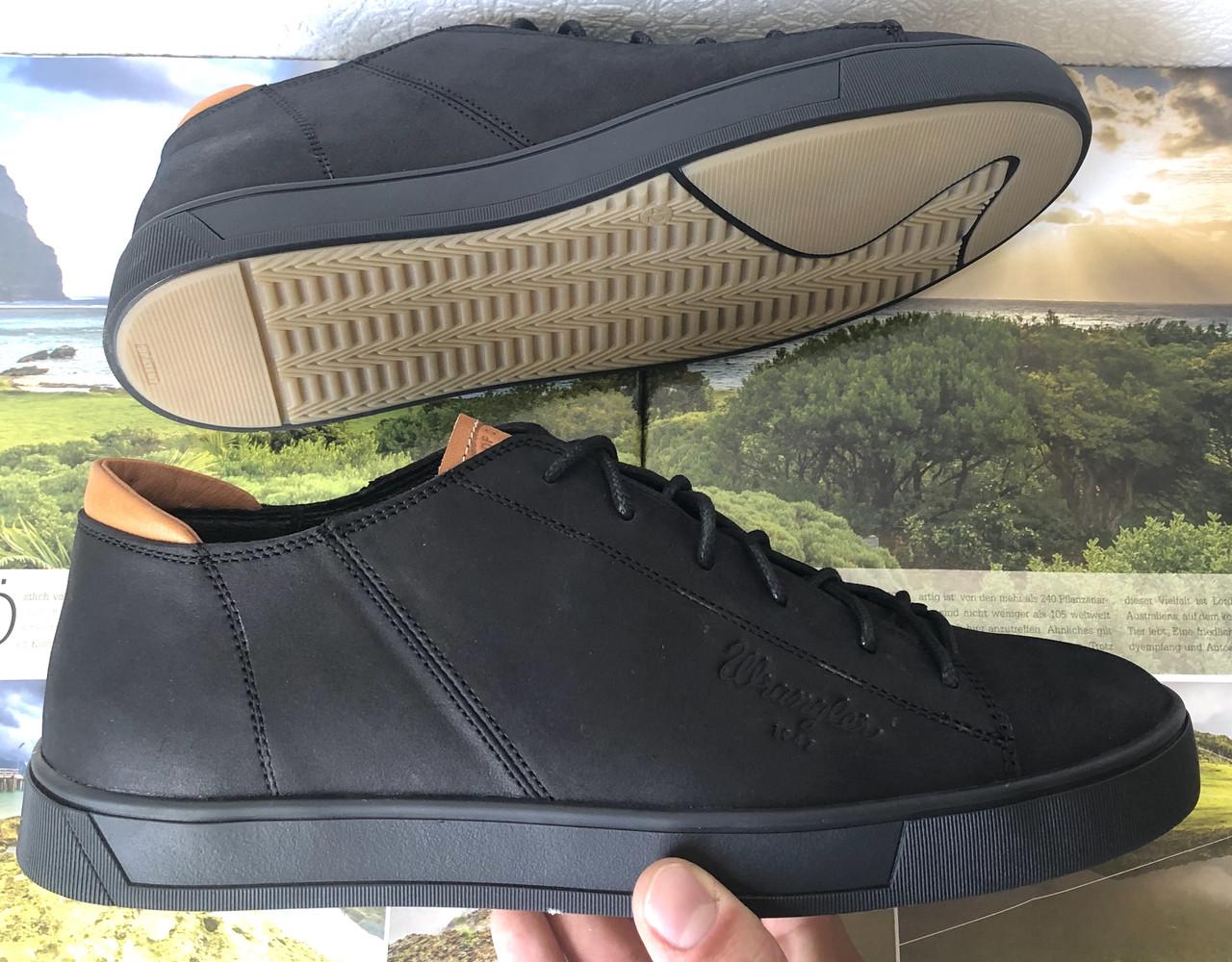Wrangler жесть! Стильные кожаные демисезонные мужские туфли кеды на ровной подошве