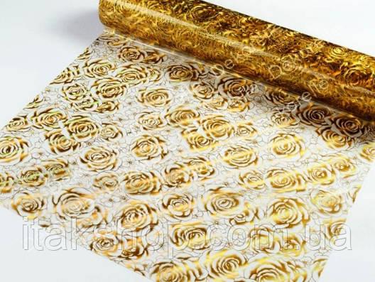 Мягкое стекло Скатерть с лазерным рисунком для мебели Soft Glass 1.9х0.8м толщина 1.5мм Золотистые розы, фото 2