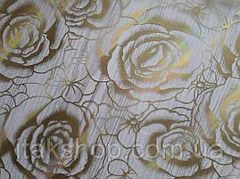 Мягкое стекло Скатерть с лазерным рисунком для мебели Soft Glass 2.2х0.8м толщина 1.5мм Золотистые розы, фото 3