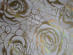 Мягкое стекло Скатерть с лазерным рисунком для мебели Soft Glass 2.2х0.8м толщина 1.5мм Золотистые розы, фото 2