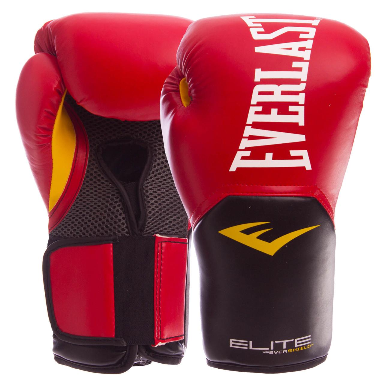 Перчатки боксерские PU на липучке EVERLAST P00001243 PRO STYLE ELITE (р-р 12oz, красный)