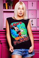 Черная футболка с ярким принтом FB-1137D1