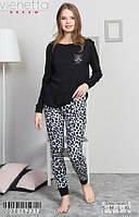 Комплект демисезонный женской домашней одежды (футболка длинный рукав.+ штаны) х/б VS (размер S)