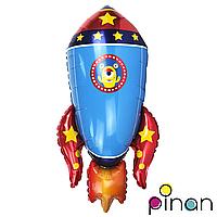 Фольгированный шар 35 Pinan Космос Ракета синяя в упаковке, 88 см