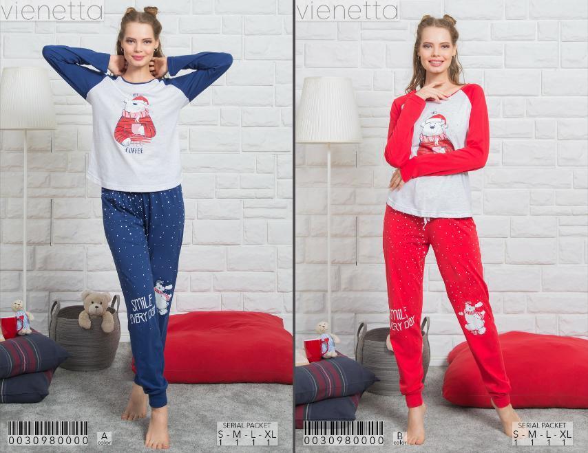 Комплект демисезонный женской домашней одежды (футболка длинный рукав.+ штаны) х/б VS (размер L)