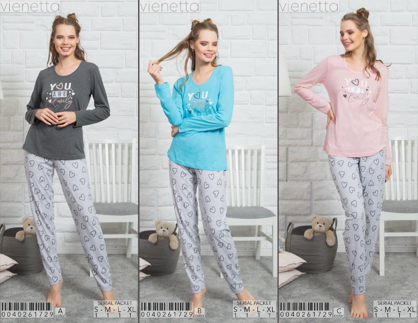 Комплект жіночої домашньої одягу (футболка довгий рукав.+ штани х/б, ПАК/4шт, VS