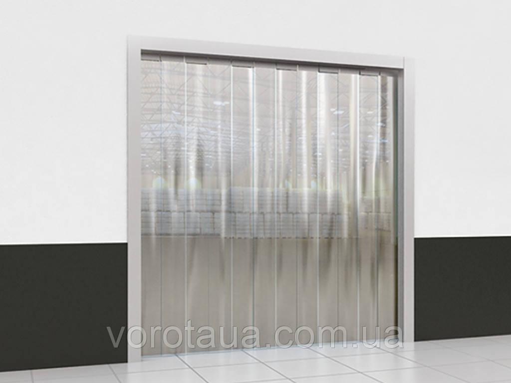 Пленочные полосовые ПВХ завесы прозрачная гладкая 2х200