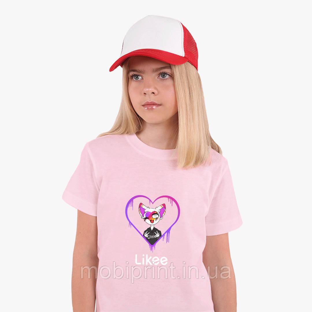 Детская футболка для девочек Лайк (Likee) (25186-1038) Розовый