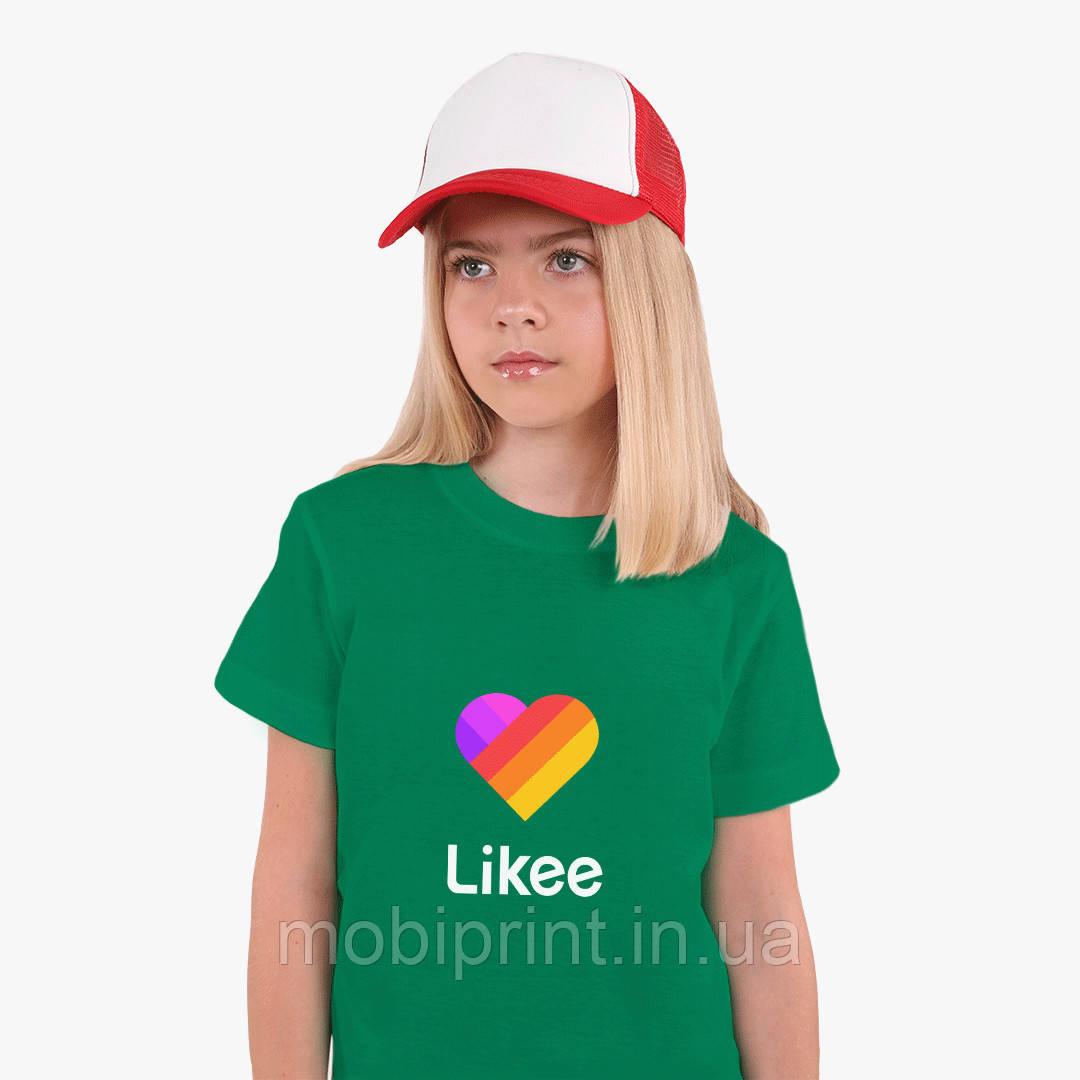Детская футболка для девочек Лайк (Likee) (25186-1041) Зеленый