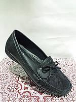 Туфли женские демисезонные из эко-кожи чёрные на низком ходу 40 размер