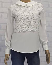 Блузка школьная с длинным рукавом для девочки, кружевная вставка макраме, крепдешин, Milana (размер 140)