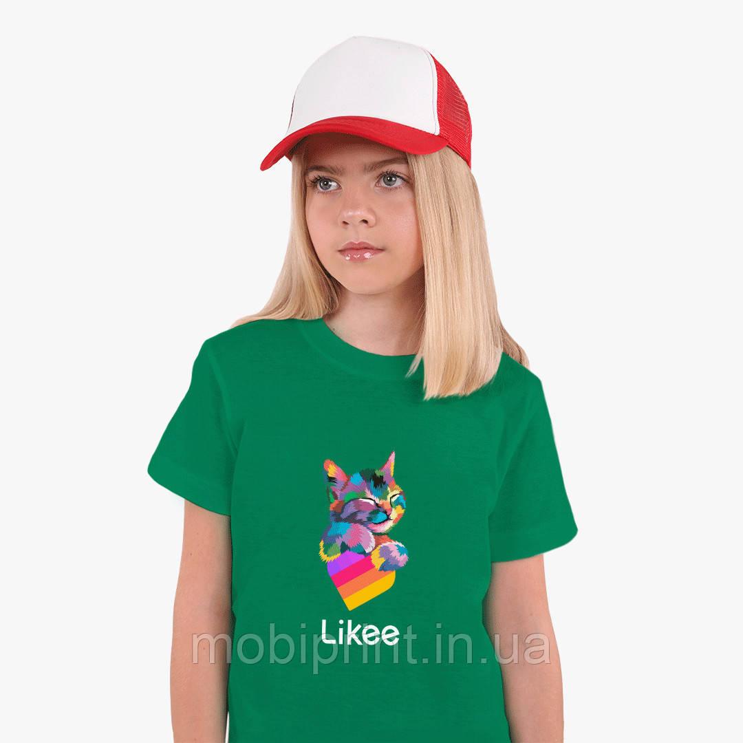 Детская футболка для девочек Лайк (Likee) (25186-1040) Зеленый