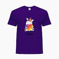 Детская футболка для девочек Лайк (Likee) (25186-1037) Фиолетовый, фото 1