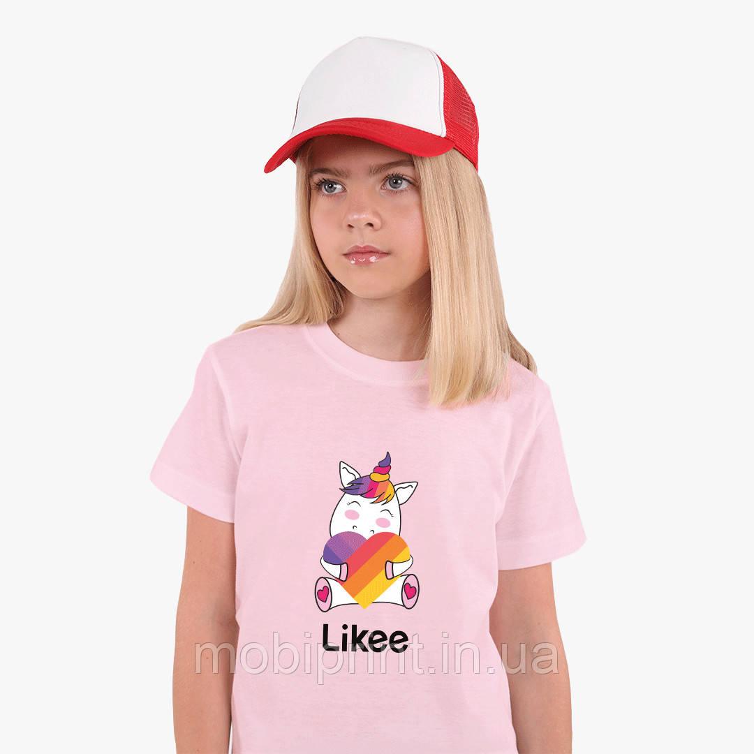 Детская футболка для девочек Лайк (Likee) (25186-1037) Розовый
