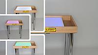Стіл для малювання піском 70х50см Art&Play® вільха кольорове світло з відсіком для іграшок, фото 2