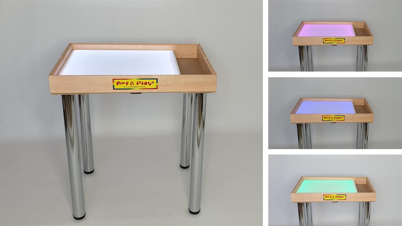 Стіл для малювання піском 70х50см Art&Play® вільха кольорове світло з відсіком для іграшок