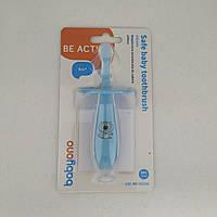 Безопасная зубная щетка с ограничителем на присоске для ребенка 6 мес+ (розовый)