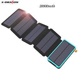 Power Bank X-DRAGON XD-SC-010 на 20000mAh для мобільних телефонів, сонячна батарея, світлодіодний ліхтар