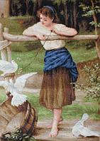 """Набор для вышивания крестом """"Luca-s""""  B516 Девушка дразнящая голубей"""