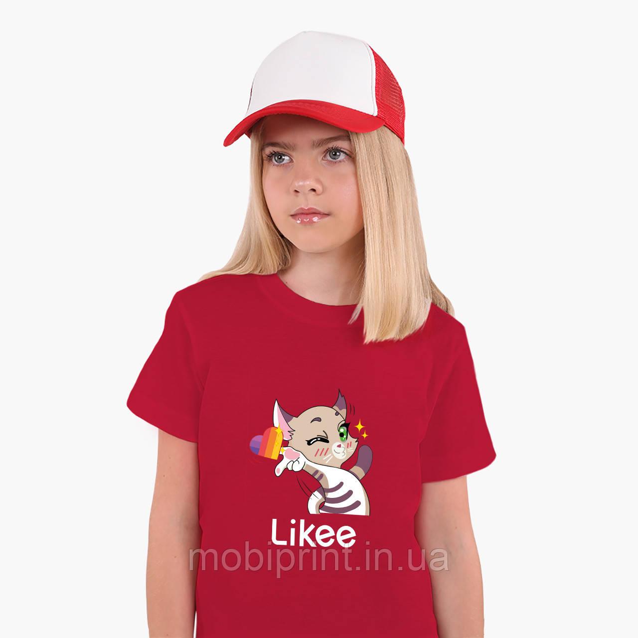 Детская футболка для девочек Лайк (Likee) (25186-1032) Красный