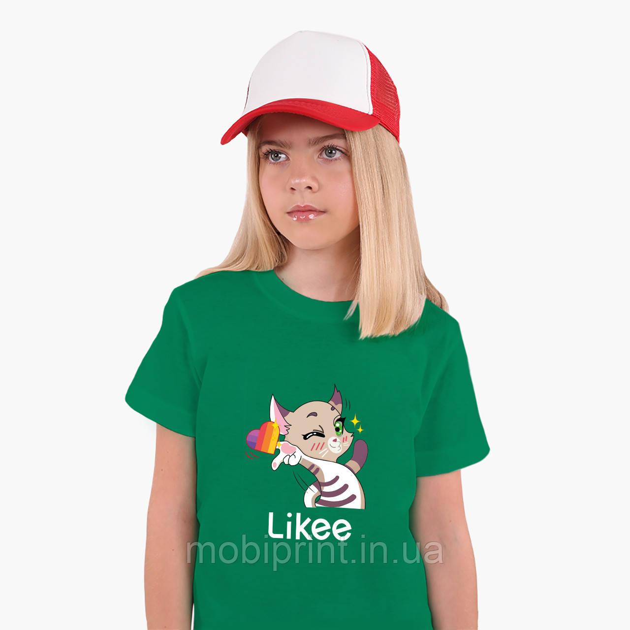 Детская футболка для девочек Лайк Котик (Likee Cat) (25186-1032) Зеленый
