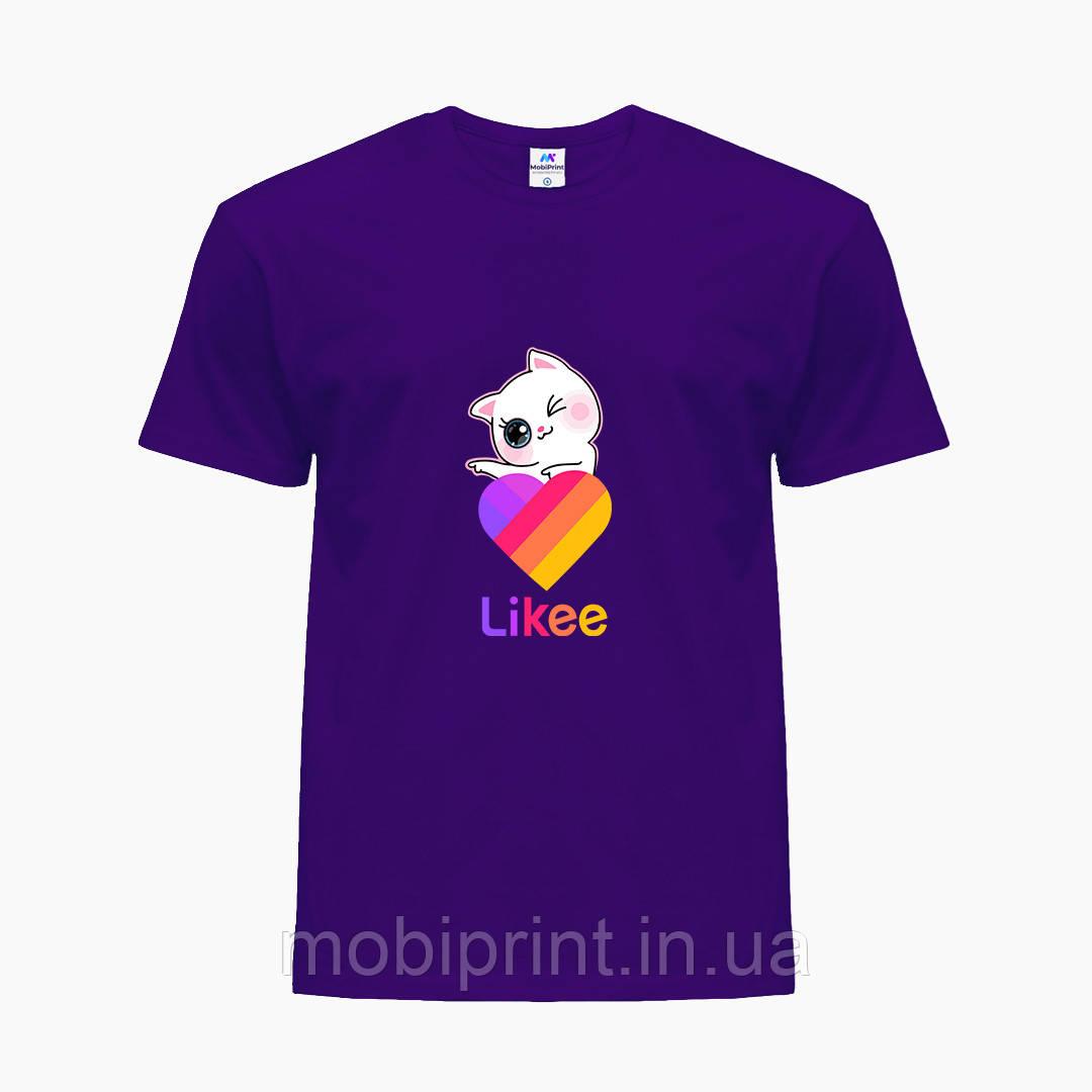 Детская футболка для девочек Лайки Котик (Likee Cat) (25186-1595) Фиолетовый