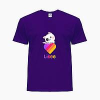 Детская футболка для девочек Лайки Котик (Likee Cat) (25186-1595) Фиолетовый, фото 1