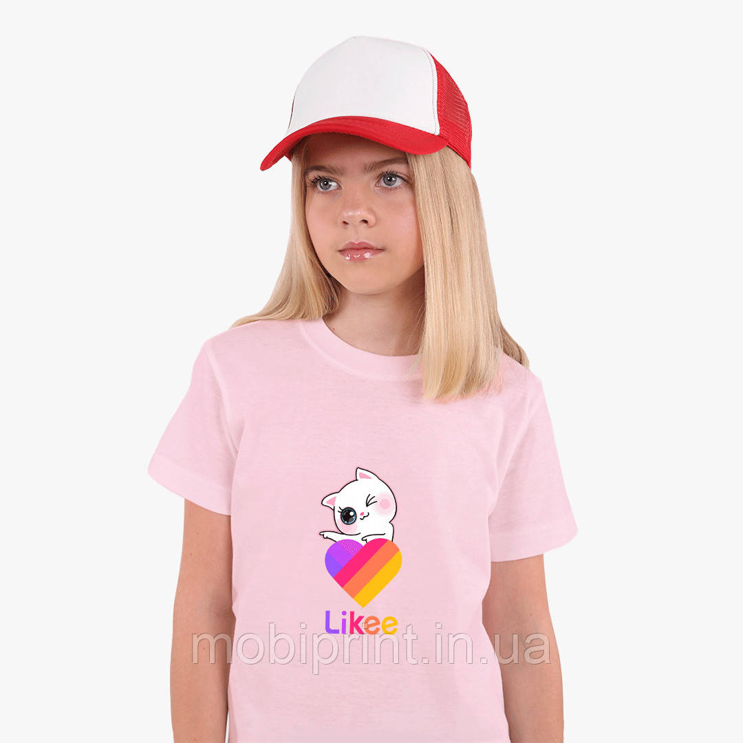 Детская футболка для девочек Лайки Котик (Likee Cat) (25186-1595) Розовый