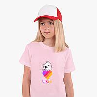 Детская футболка для девочек Лайки Котик (Likee Cat) (25186-1595) Розовый, фото 1