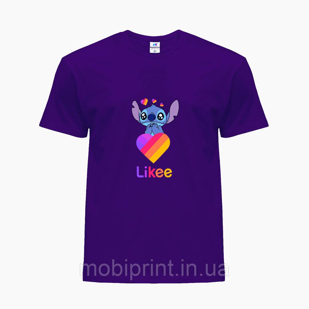 Детская футболка для девочек Лайки Стич (Stitch Likee) (25186-1596) Фиолетовый
