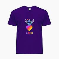 Детская футболка для девочек Лайки Стич (Stitch Likee) (25186-1596) Фиолетовый, фото 1