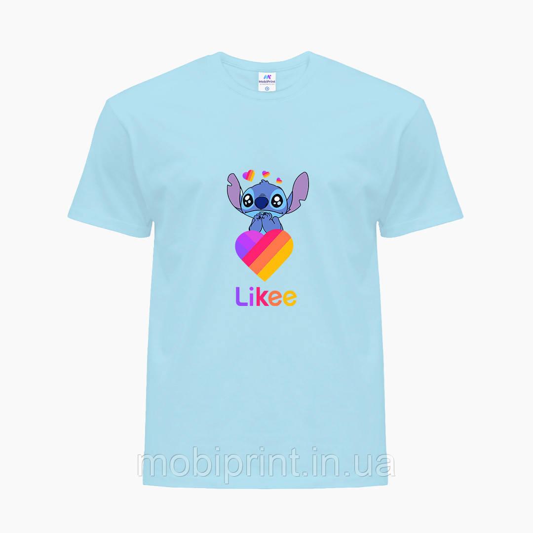 Детская футболка для девочек Лайки Стич (Stitch Likee) (25186-1596) Голубой